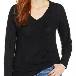 Caslon V Neck Thermal Waffle Top